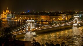 Lighted Bridge during Night Time Stock Photography
