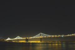 Lighted Bridge at Nighttime royalty free stock image