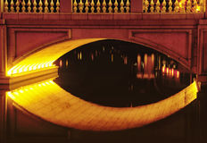 Lighted bridge. A lighted bridge over water in Macao China Royalty Free Stock Photography