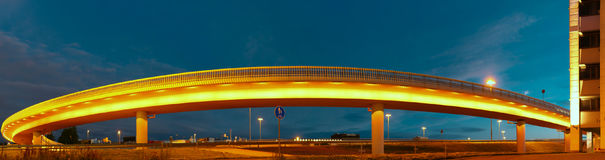 Lighted bridge panorama at night Stock Image