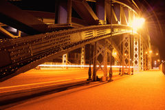 Lighted brigde in Frankfurt on the Main Stock Image