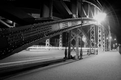 Lighted brigde in Frankfurt on the Main Stock Photo