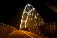 Lighted brigde in Frankfurt on the Main Royalty Free Stock Image