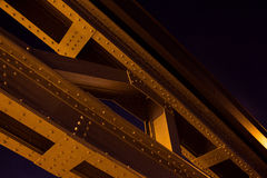 Lighted brigde in Frankfurt on the Main Royalty Free Stock Images