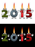 Lighted candle numbers 2015. New Year or Christmas design element with cartoon funny smiling numeric candles 2015 on white and black background for party Royalty Free Stock Photography