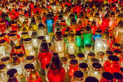 Lighted candles in the cemetery Royalty Free Stock Photography
