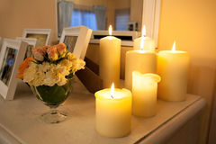 Lighted candles Stock Photo