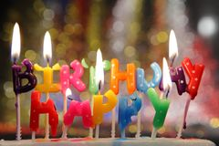 Happy birthday candles. Royalty Free Stock Photos