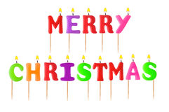 Lighted candles merry christmas Royalty Free Stock Image