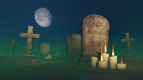 Lighted candles near the old gravestone. Abandoned creepy cemetery under fantastic big moon with lighted candles in front of an old gravestone Royalty Free Stock Photography