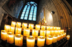 Lighted candles in the Notre-Dame Royalty Free Stock Photos