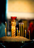 Lighted candles. In the Russian church Stock Photos