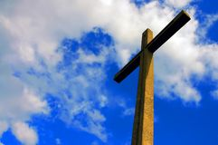 Lighted cement cross Royalty Free Stock Image