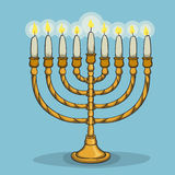 Lighted Chanukiah in Cartoon Style, Vector Illustration stock photo