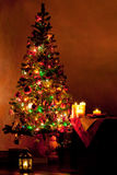 Lighted Christmas tree in living room Royalty Free Stock Images