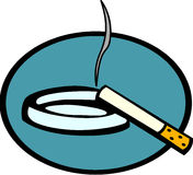 Lighted cigarette and ashtray vector illustration Stock Image