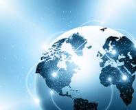 Lighted cities on world globe stock photos