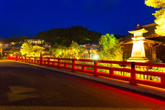 Lighted Close Naka-Bashi Bridge Takayama Night Stock Photos