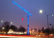 Lighted construction crane Royalty Free Stock Images