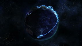 Lighted Earth turning on itself with blue connections with Earth image courtesy of Nasa.org stock video footage