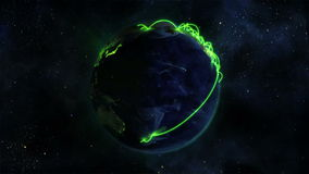 Lighted Earth turning on itself with green connections with Earth image courtesy of Nasa.org stock footage