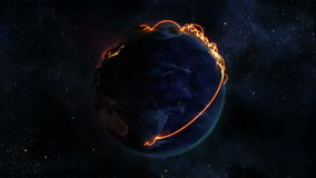 Lighted Earth turning on itself with orange connections with Earth image courtesy of Nasa.org stock video