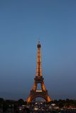 Lighted Eiffel Tower during Night Time Stock Images