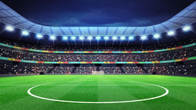 Lighted football stadium with fans in the stands. Sport match background digital illustration my own design Stock Images