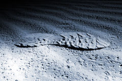Lighted footstep on sand at night Stock Images