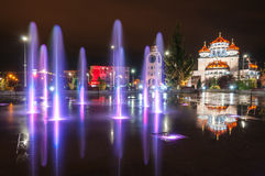 Lighted fountain in my town Royalty Free Stock Photos