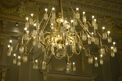 Chandelier, Lighted Lamps, Golden Decorative Vintage Ceiling Stock Photos