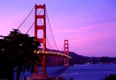 Lighted Golden Gate Bridge. Lighted  scene of the San Francisco's Golden Gate Bridge at sun set Stock Image