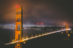 Lighted Golden Gate Bridge during Nighttime Stock Images