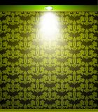 Lighted green seamless wall with lamp. Vector Stock Photography