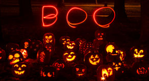 Lighted Halloween Pumpkins Stock Images