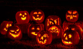 Lighted Halloween Pumpkins with Candles Stock Photos