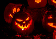 Lighted Halloween Pumpkins with Candles Stock Images