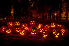 Lighted Halloween Pumpkins with Candles Stock Image