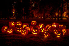 Free Lighted Halloween Pumpkins With Candles Stock Photography - 45809142