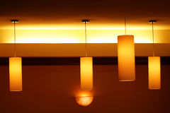 Lighted Hanging lamps Royalty Free Stock Images