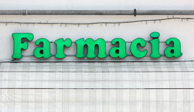 Lighted Italian Pharmacy Sign Royalty Free Stock Images