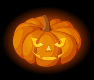Lighted Jack-O-Lantern (Halloween pumpkin). Royalty Free Stock Photography
