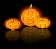 Lighted Jack-O-Lanterns (Halloween pumpkins). Vector eps-10. Royalty Free Stock Photography