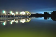 Lighted Jetty at Lower Seletar Reservoir Stock Photo