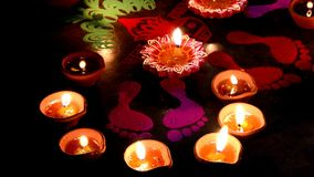 Lighted lamp with rangoli stock video footage