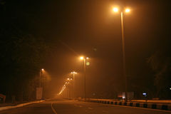 Lighted lines of street lights. Lighted streets of new delhi India Stock Photography