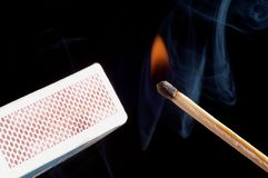 Lighted match Stock Image