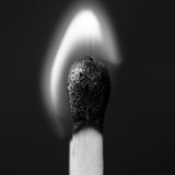 Lighted match. In greyscale, close up Stock Image
