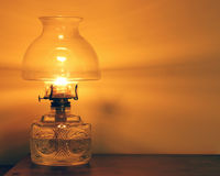 Lighted Oil Lamp Royalty Free Stock Images