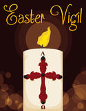 Lighted Paschal Candle for Easter Vigil, Vector Illustration. Poster with lighted Paschal candle for Easter Vigil with glows and bokeh effect in the background Stock Photo